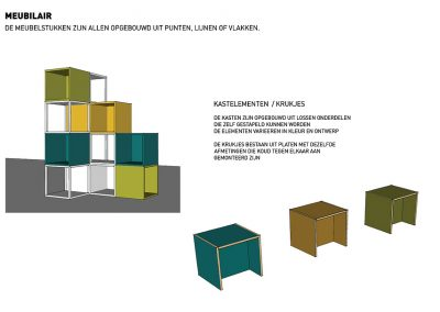 3 ontwerp pixel meubelstukken