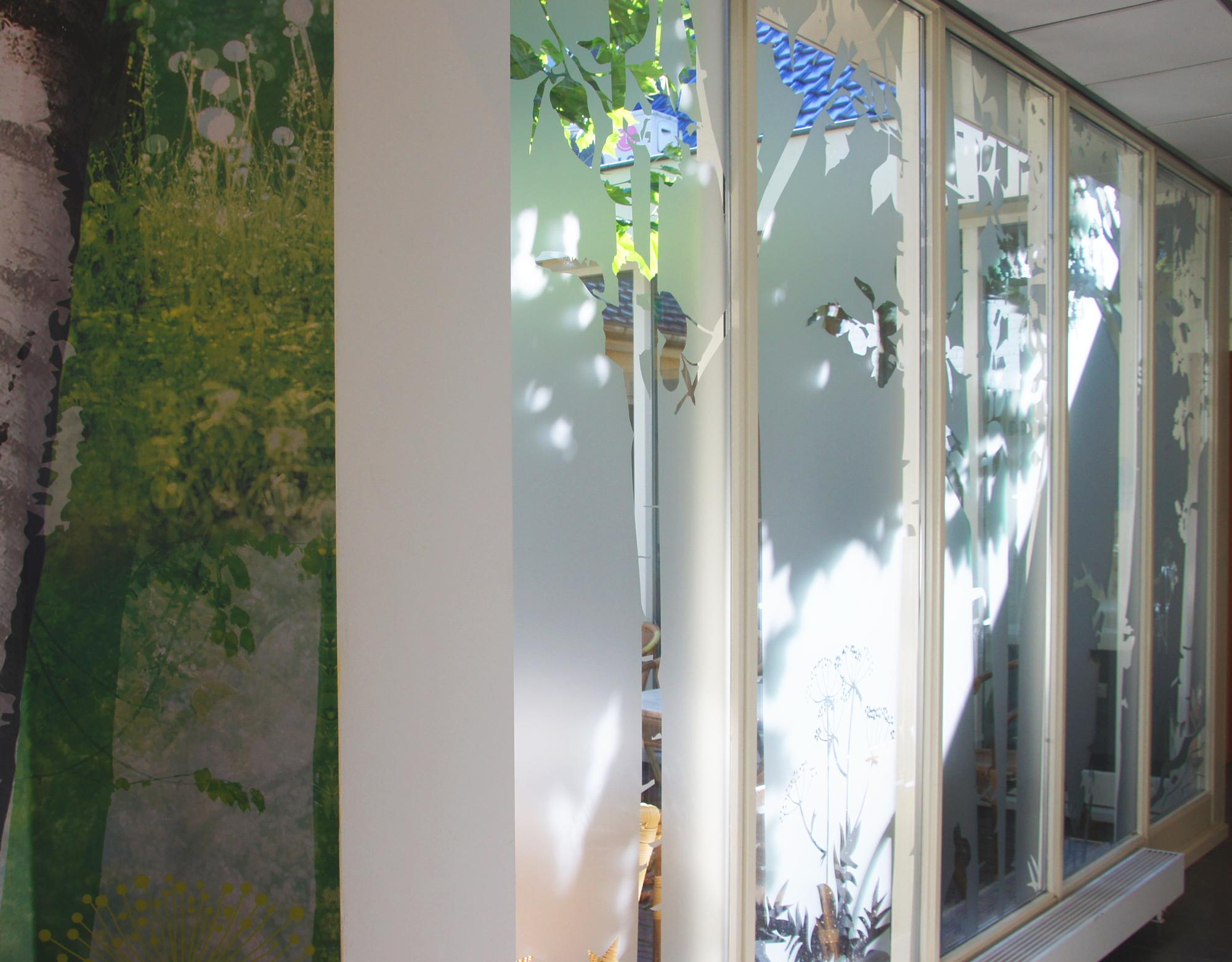 raamfolie en muurprint ter spegelt