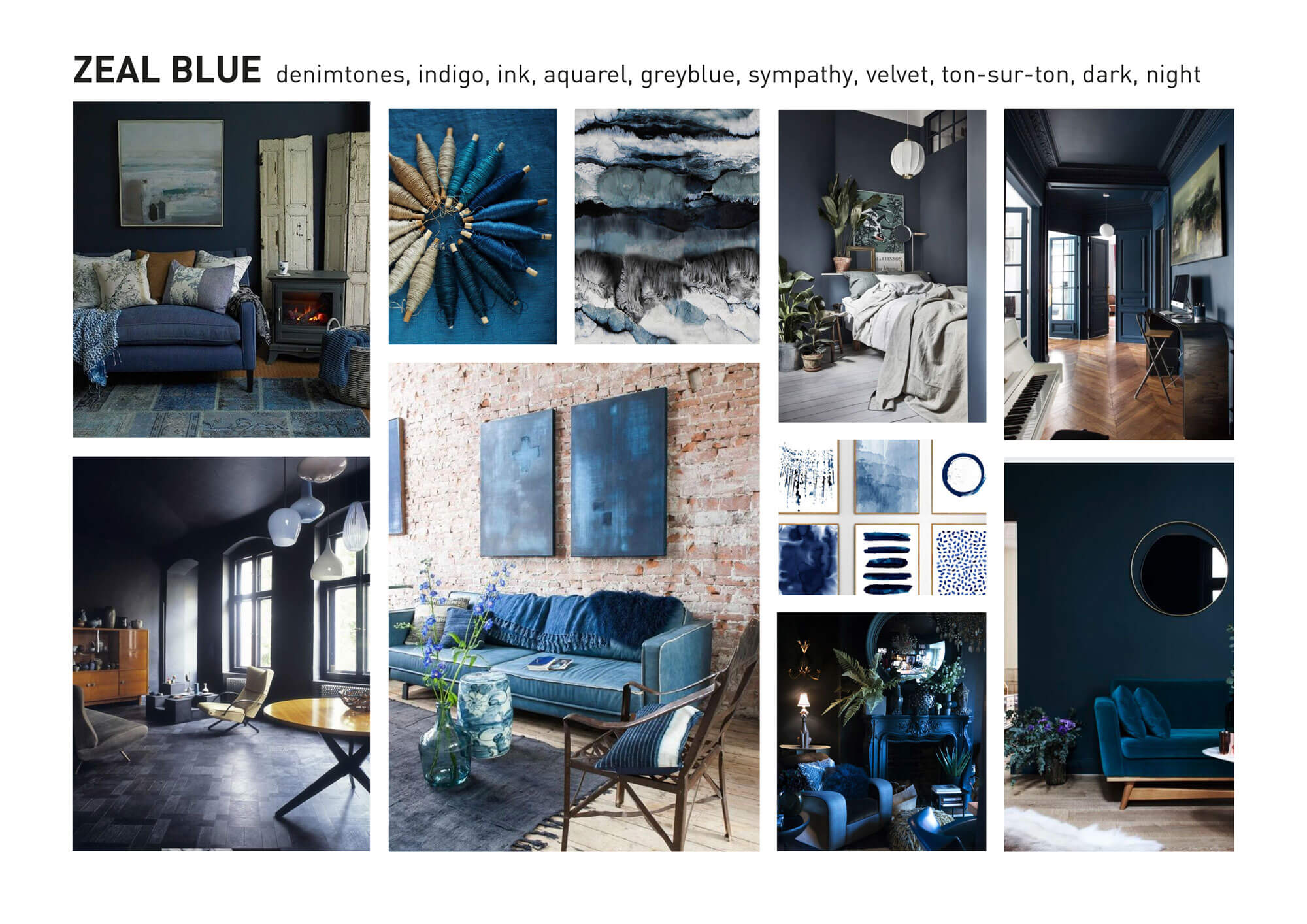 Zeal blue color and material forecast interior design for Interior design trends 2018